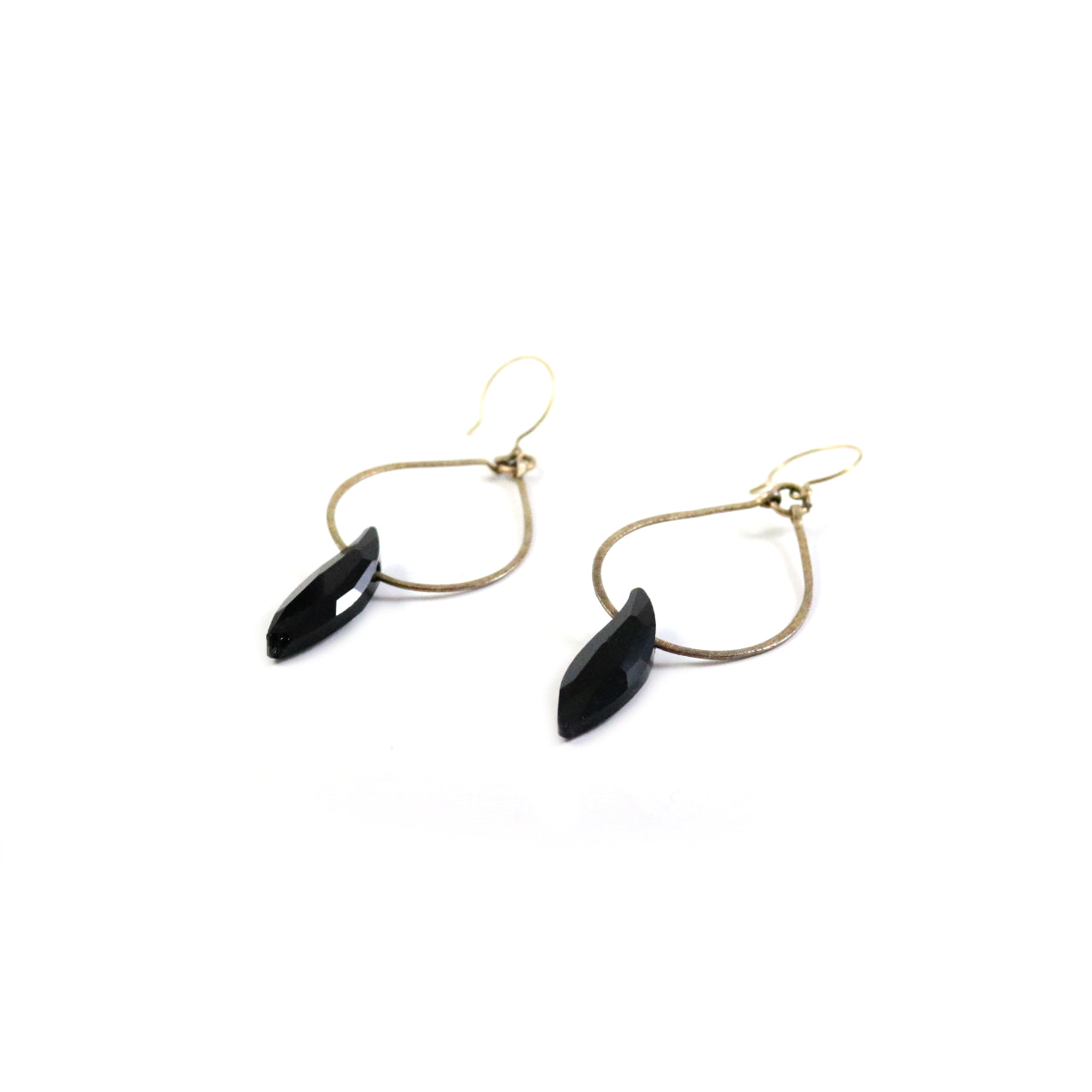 Hoop Black Crystal Drop Earrings