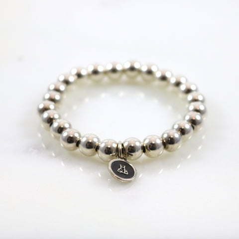 Howlite & Gold Pave Ball Stretch Bracelet