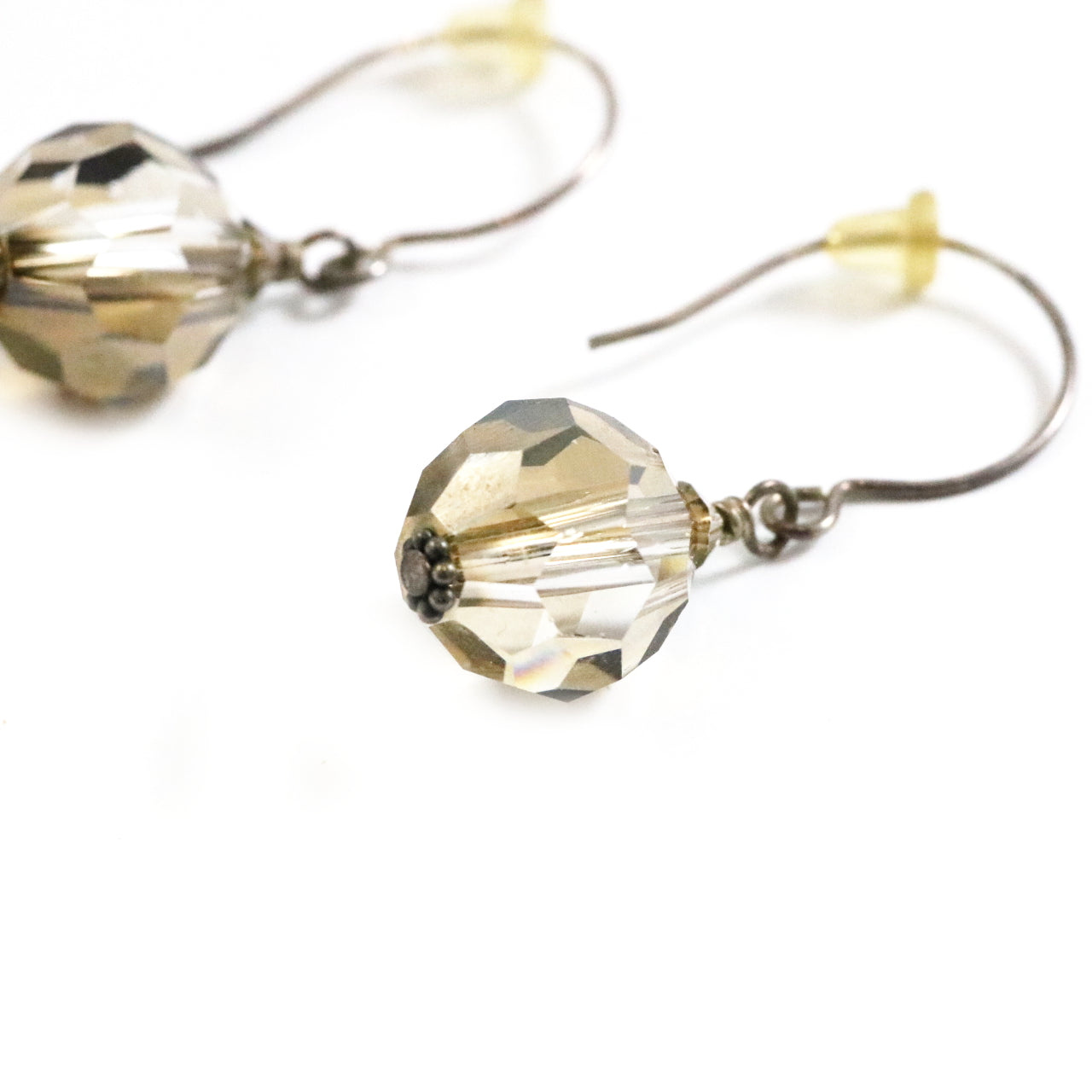 Bronze Crystal Drop Earrings
