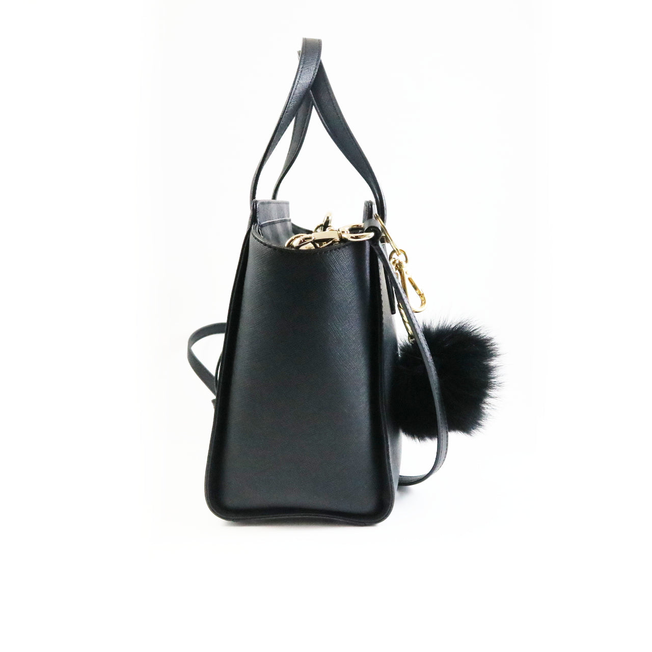 Black Satchel With Pom Pom
