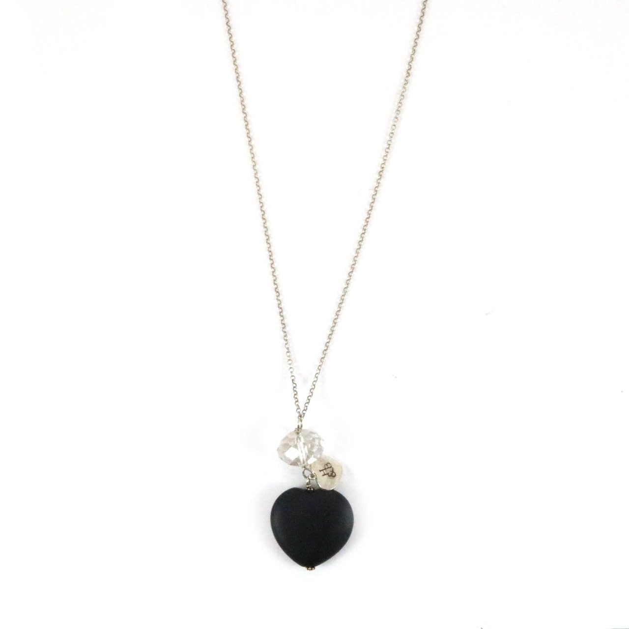 Wooden Black Heart with Crystal Silver Necklace