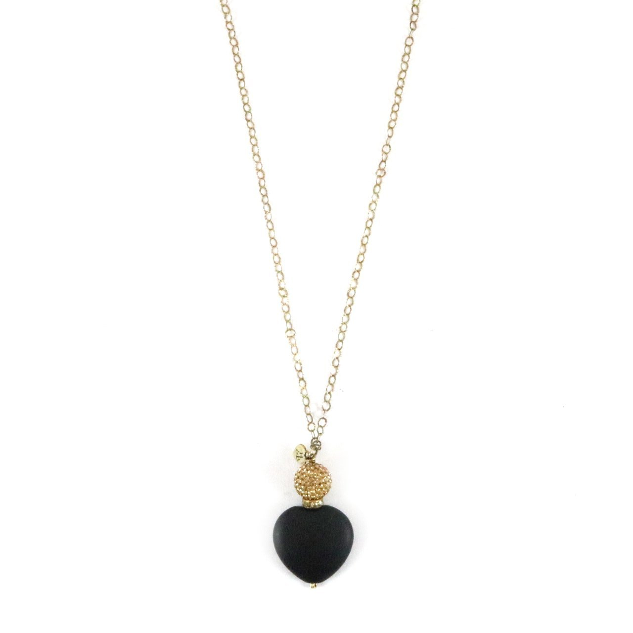 Wooden Black Heart with Gold Sparkle Necklace