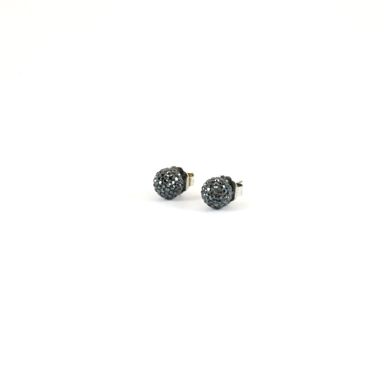 Grey Sparkle Ball Earrings