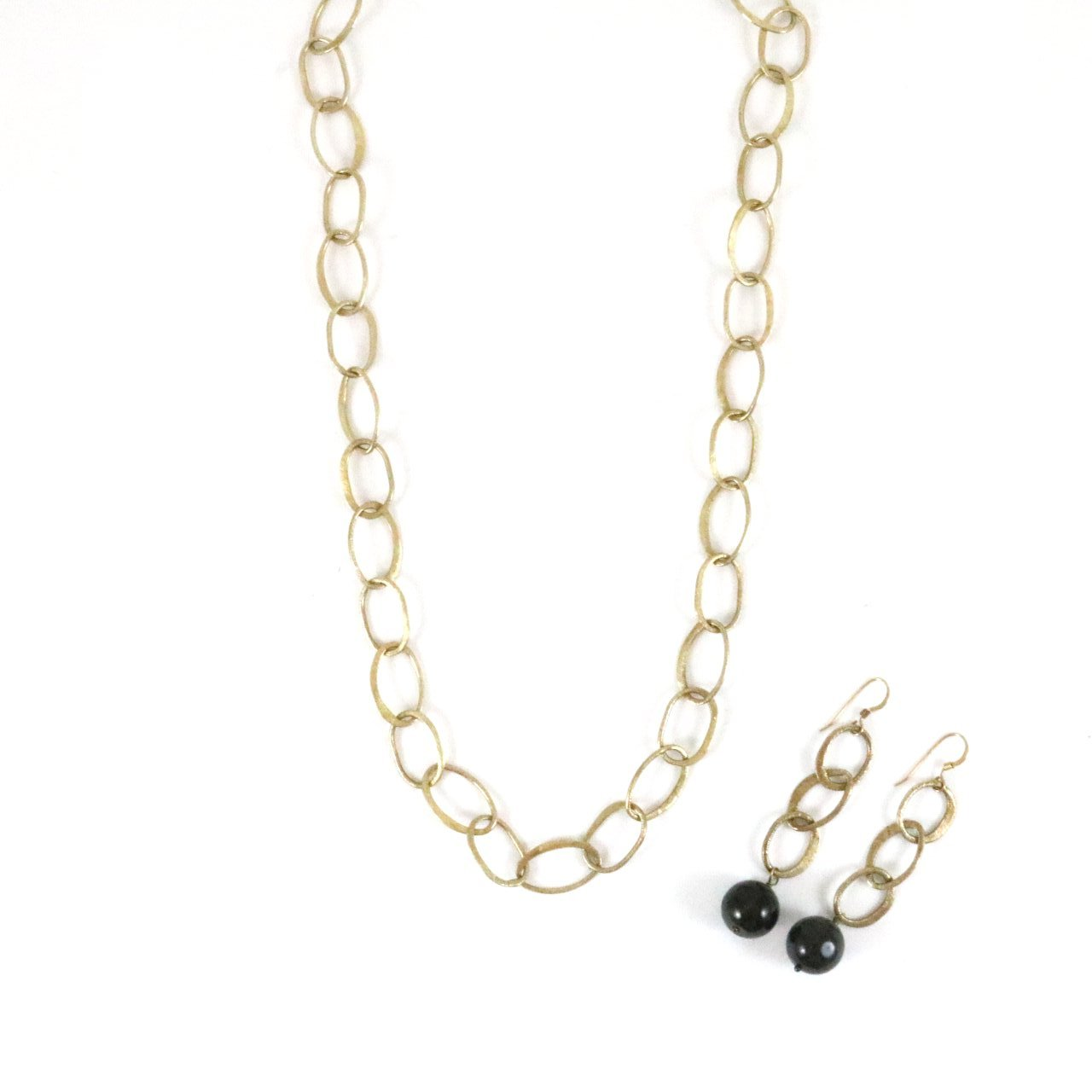 Gold Chain Dark Stone Earrings & Necklace Set