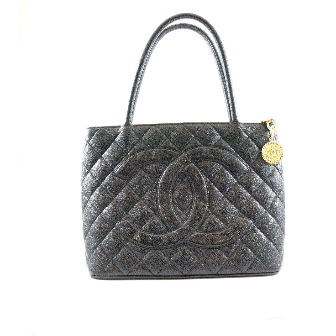 Quilted Caviar Medallion Tote