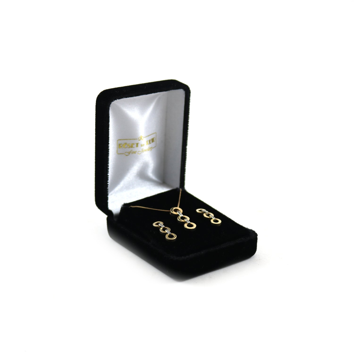 10k Gold Three Diamond Circles Earrings & Necklace Set