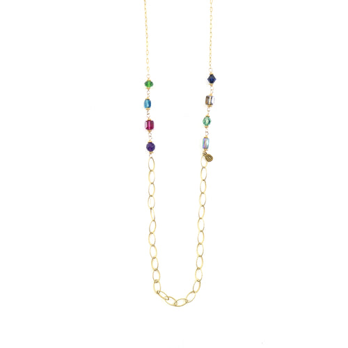 Coloured Stone Lariat Necklace