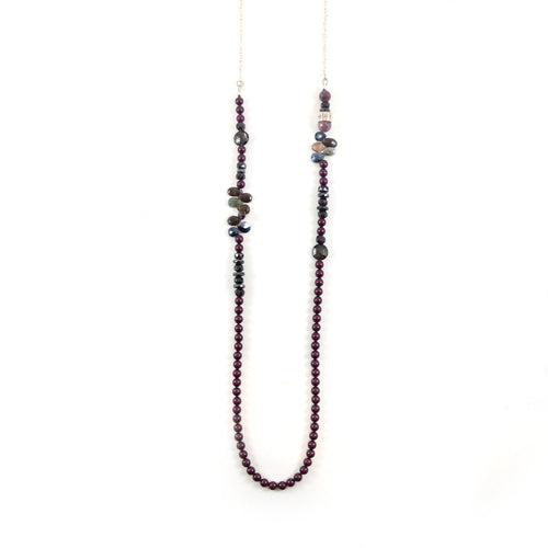 Purple Bead Lariat Necklace