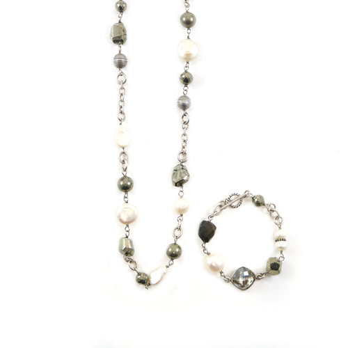 Pearl Lariat Necklace & Bracelet Set