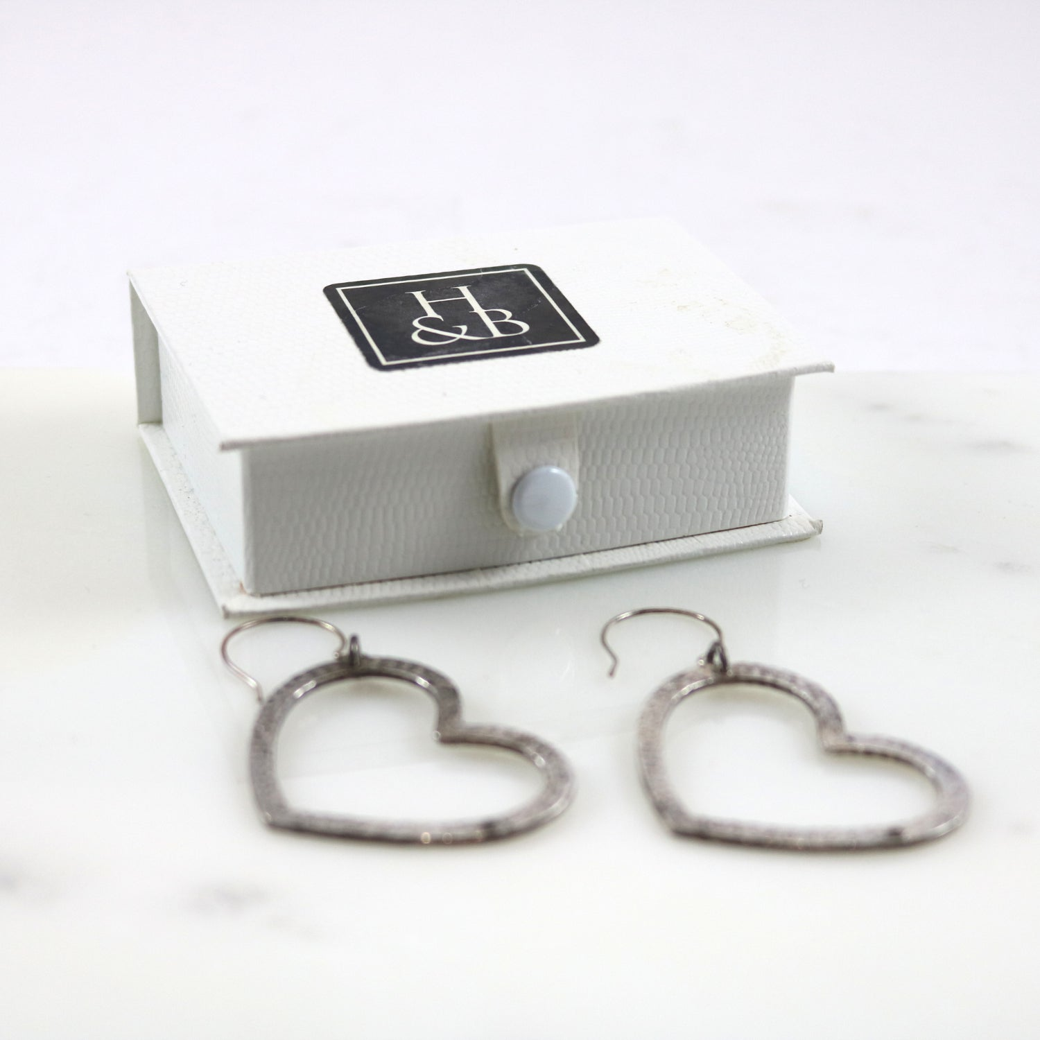 Hammered Heart Hoop Earrings