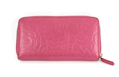 Lambskin Camellia Embossed Zip Around Large Gusset Wallet
