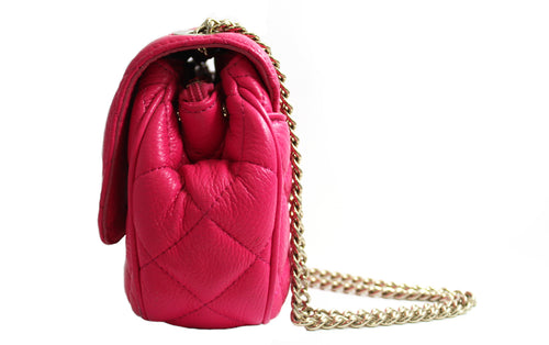 Quilted Pink Leather Convertible Bag