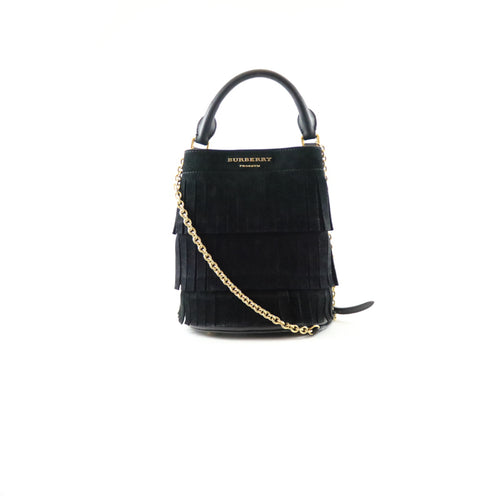Suede Fringe Small Bucket Bag