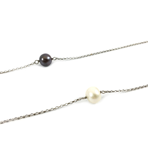 Pearl Stone Lariat Necklace