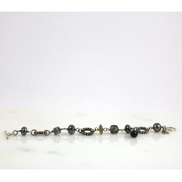Black Tone Mixed Stones Bracelet