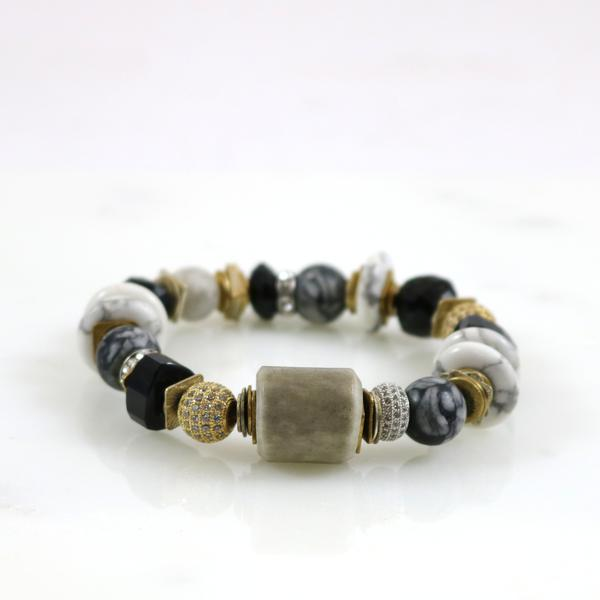 Mixed Stones with Gold Pave Ball Stretch Bracelet