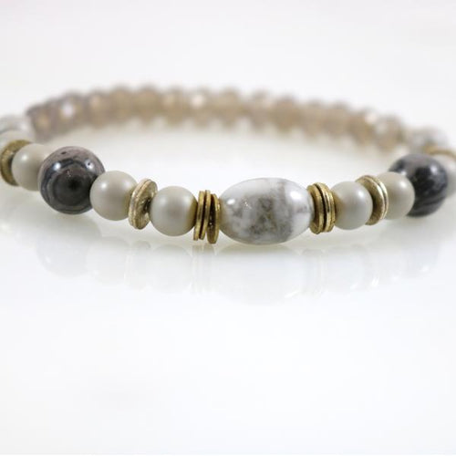 Small Howlite Mix Stretch Bracelet