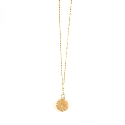 Druzy Rose Quartz Lariat Necklace