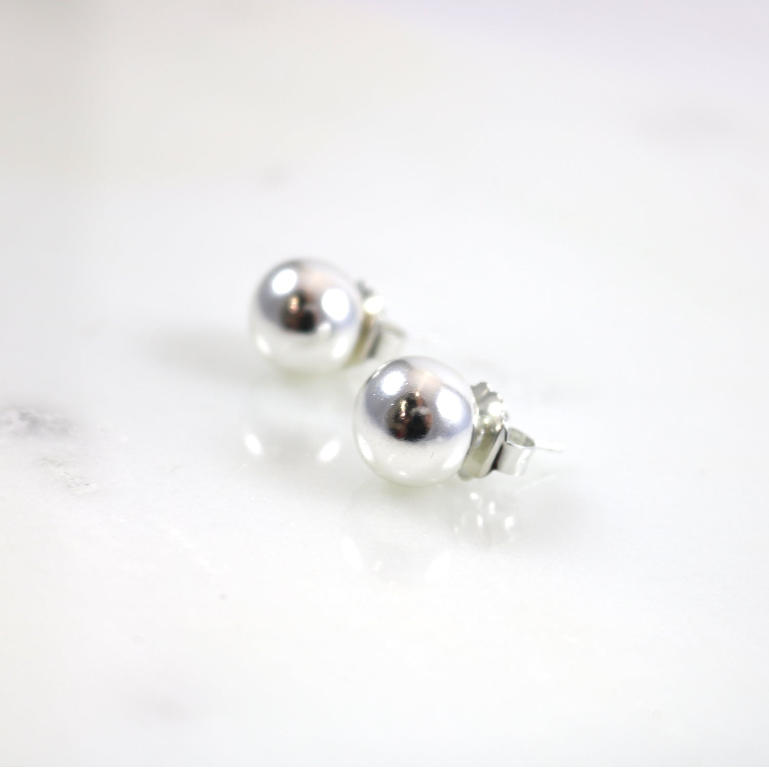 Silver Tone Ball Earrings