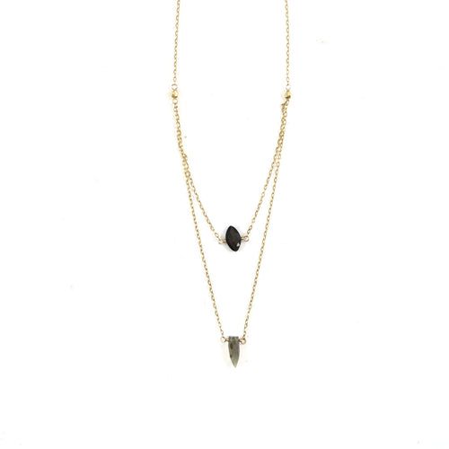 Double Dainty Hematite Necklace