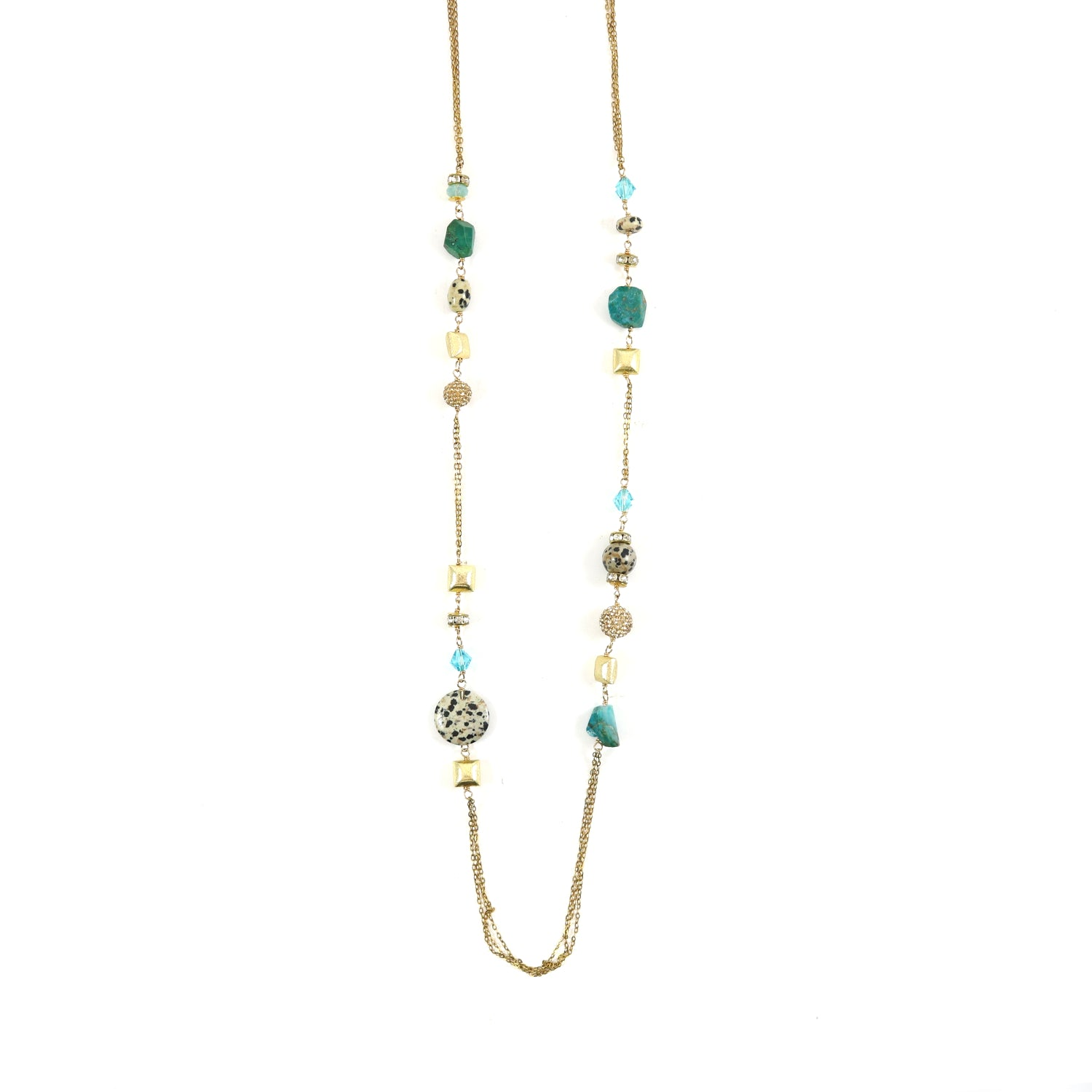 Green Agate Lariat Necklace
