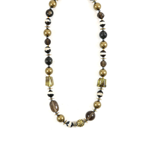 Black/Copper Tone Beads Necklace