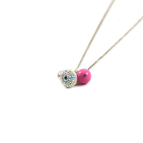 Hot Pink Cluster Necklace