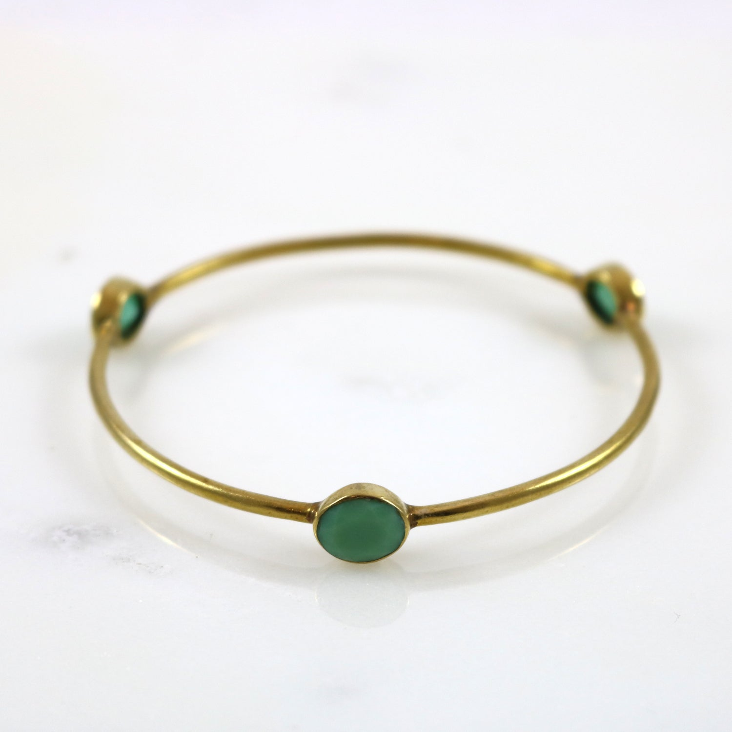 Green Stone Gold Bangle Bracelet