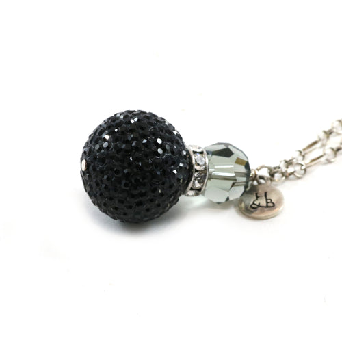 Large Black Sparkle Pendant Necklace