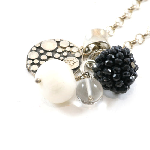 Black & White Cluster Necklace
