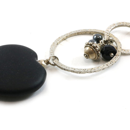 Black Heart Cluster Necklace