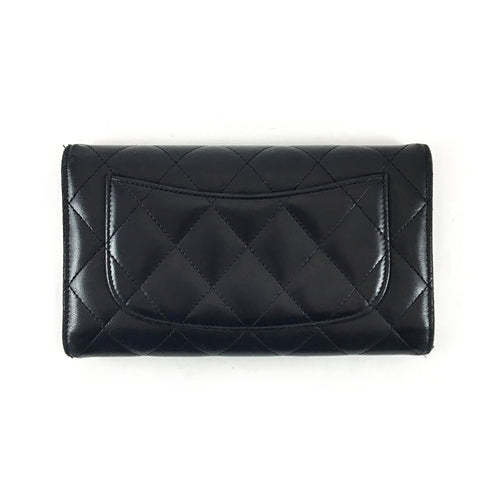 Black Quilted Tri-Fold Wallet