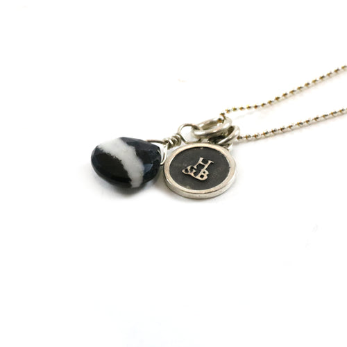 Black & White Stone Pendant Necklace