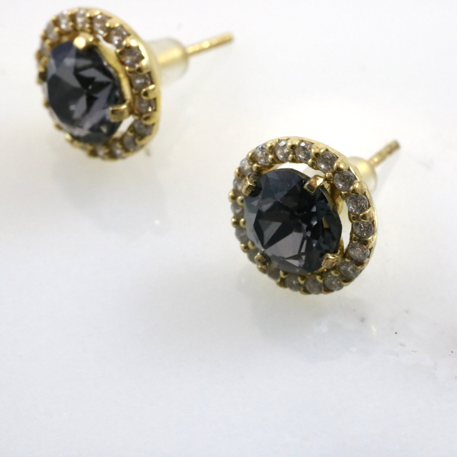 Gold with Black Crystal Bloom Studs