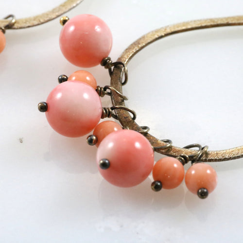 Gold and Pink Sphere Drop Earrings