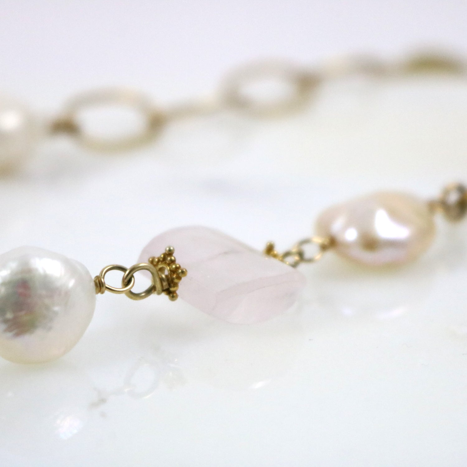 Quartz and Baroque Pearl Necklace