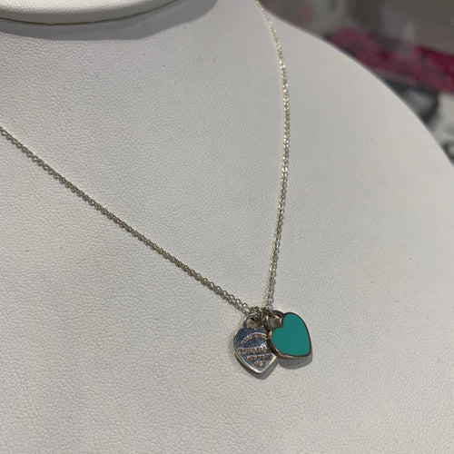 Return to Tiffany Blue Double Heart Tag Necklace