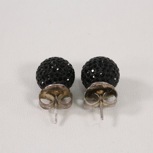 Black Sparkle Ball Earrings