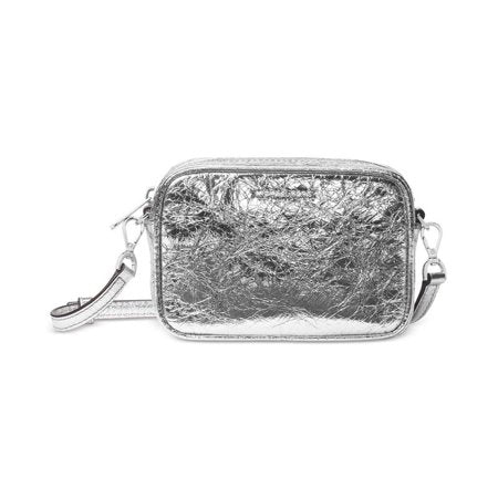Silver Crinkled Leather Mini Crossbody