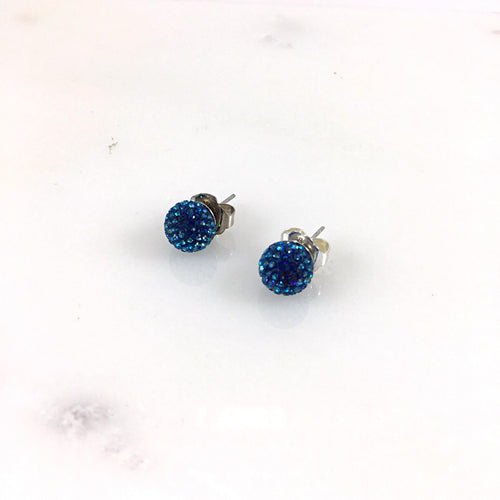 10mm Bermuda Blue Stud Earrings
