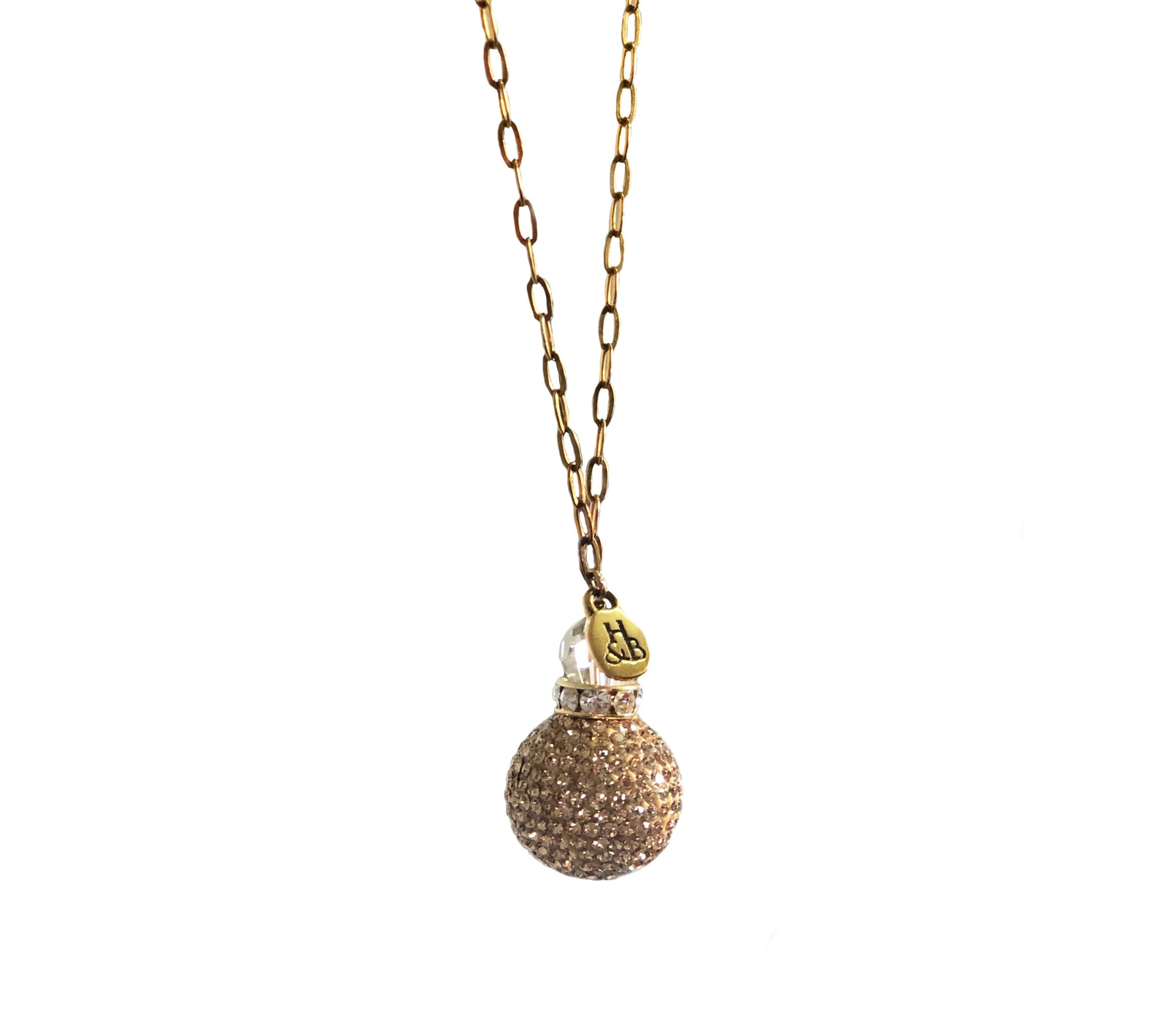 Gold Sparkle Ball Lariat Necklace