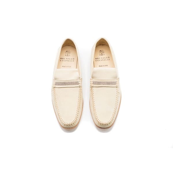 Cream Suede Loafers
