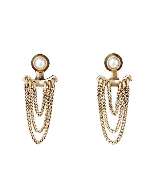 Lezark Ear Jackets Stud Earrings Gold-Tone