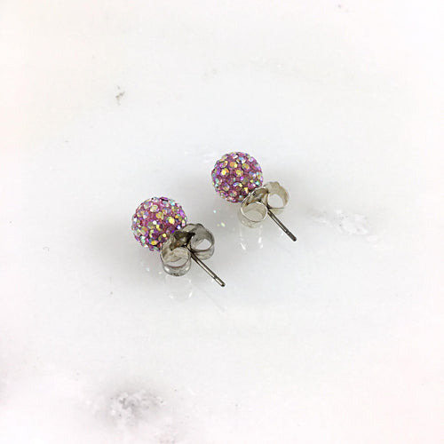 10mm Light Pink Stud Earrings
