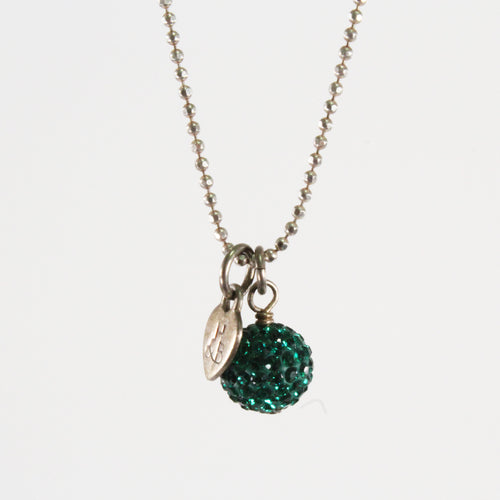 Green Sparkle Ball Necklace