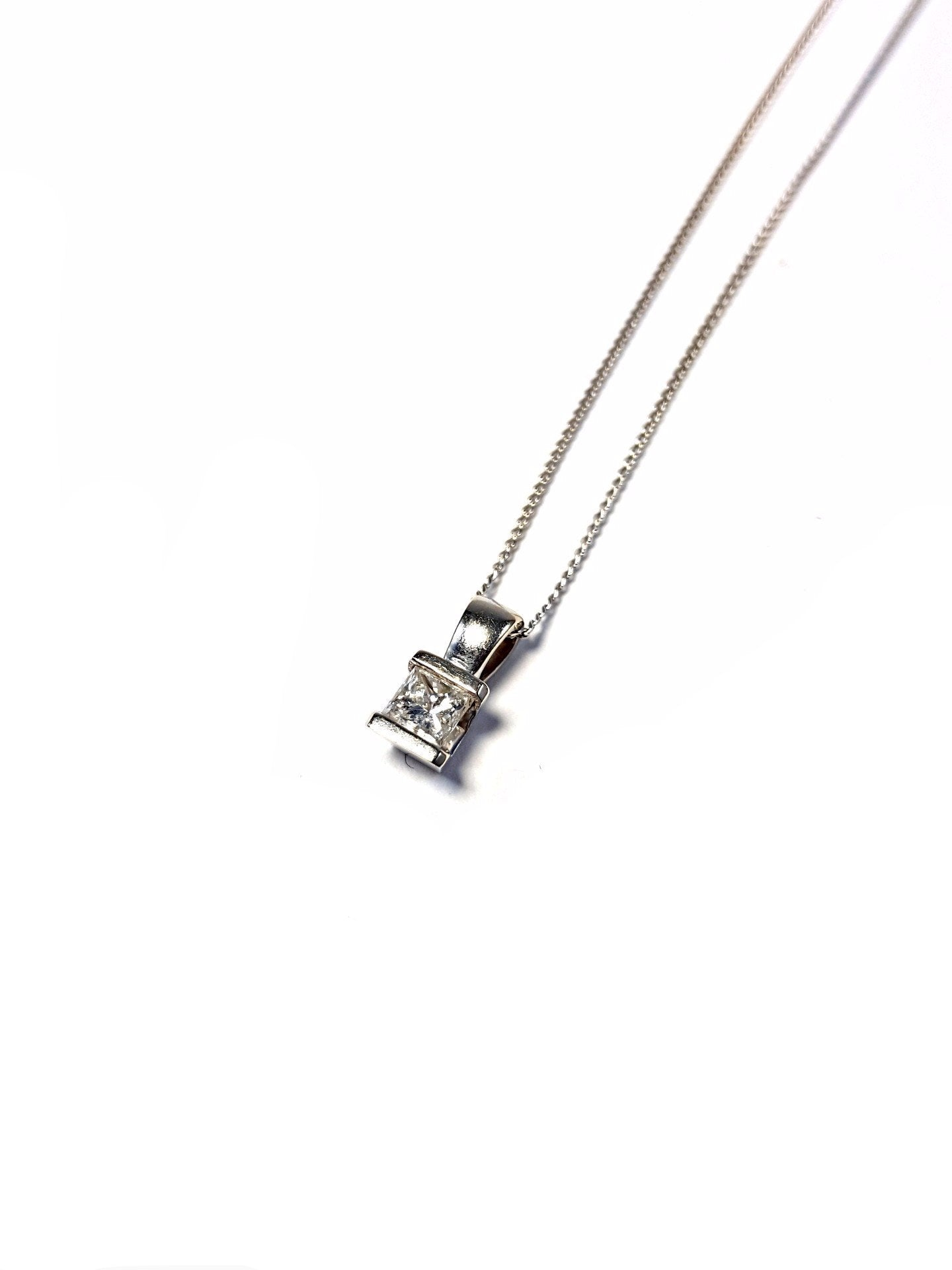 Princess Cut Diamond Pendant Necklace