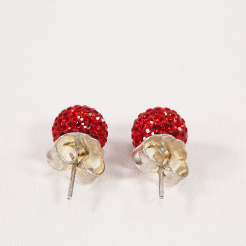 Red Sparkle Ball Earrings