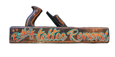 Bubba's Tattoo Removal Pinstriped Vintage Wood Plane