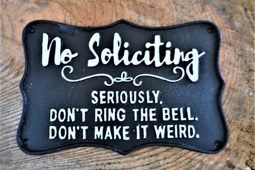 Cast Iron Plaque | No Soliciting