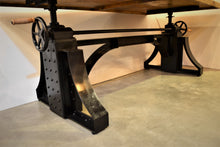 Wood & Iron Crank Base Table | Adjustable